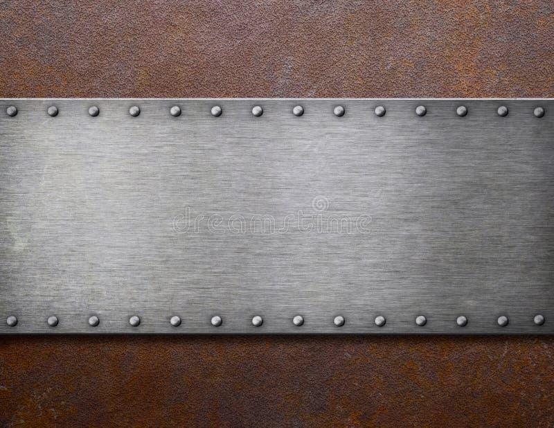 在铁锈金属3d例证的老钢匾 库存例证