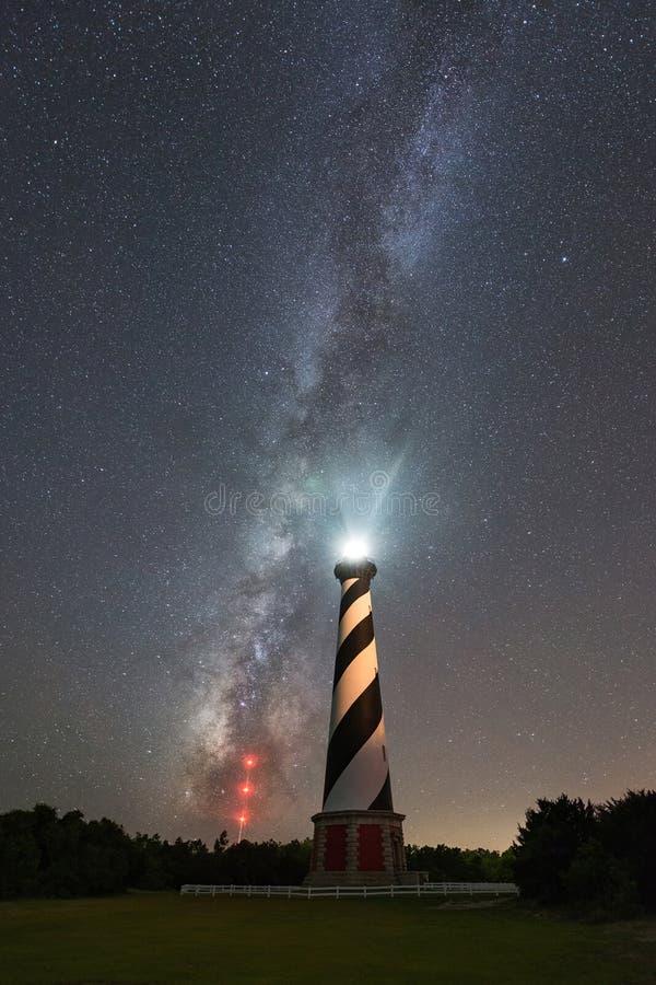 在银河星系下的哈特拉斯角灯塔 免版税库存照片