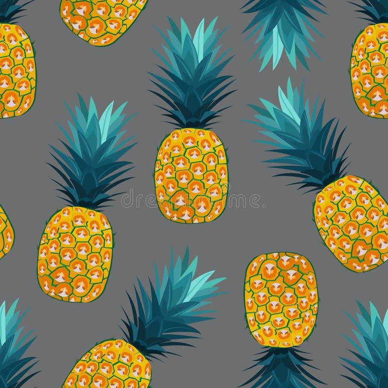 在银灰色背景的菠萝无缝的样式 o 凤梨果子 库存例证