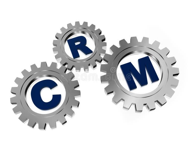 在银灰色齿轮的客户关系管理 向量例证