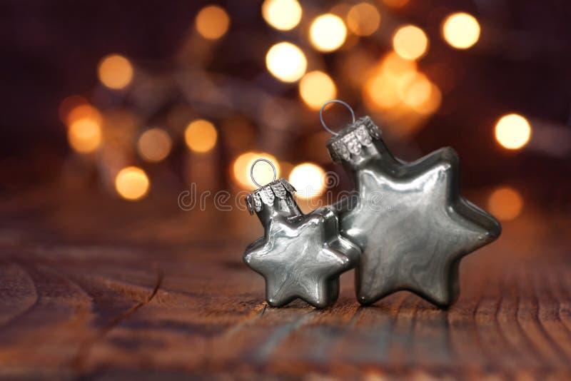 在银的圣诞节星 免版税库存图片
