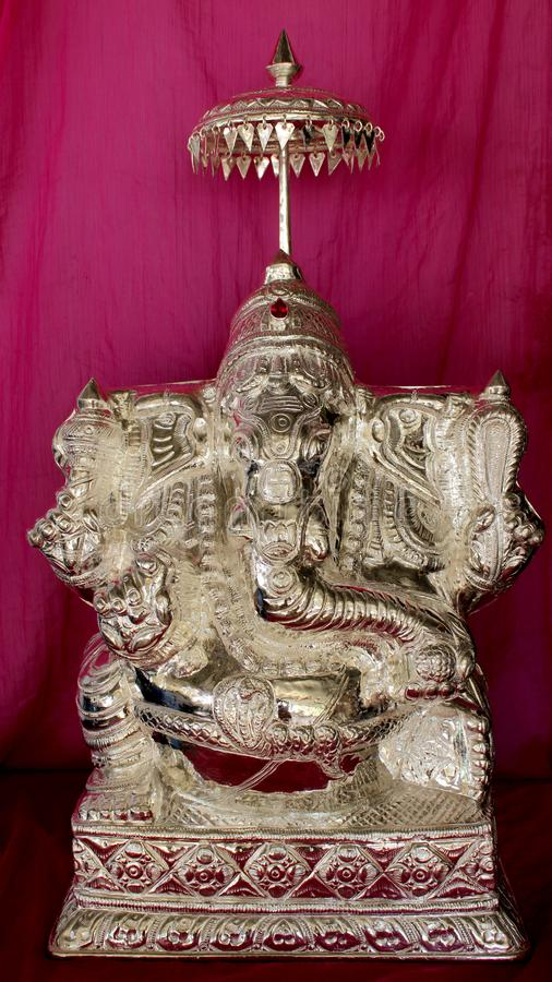 在银的Ganesha阁下雕象 库存照片