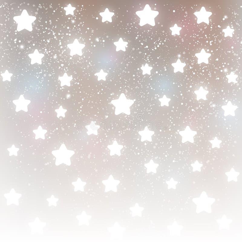 在银色背景的发光的星 皇族释放例证