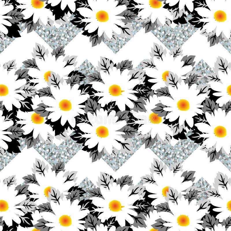 在银色霜背景的白色冬天花 无缝美好的colibri的花纹花样 库存例证