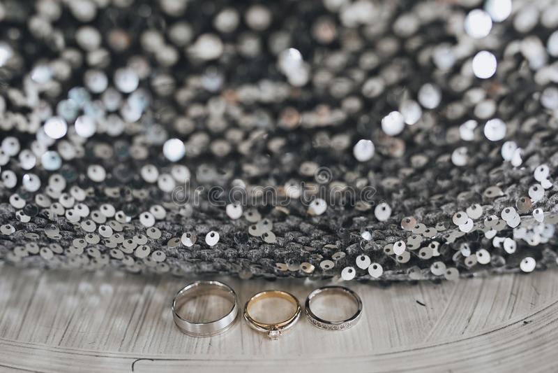 在银色织品和衣服饰物之小金属片的婚礼和订婚三圆环 免版税库存图片