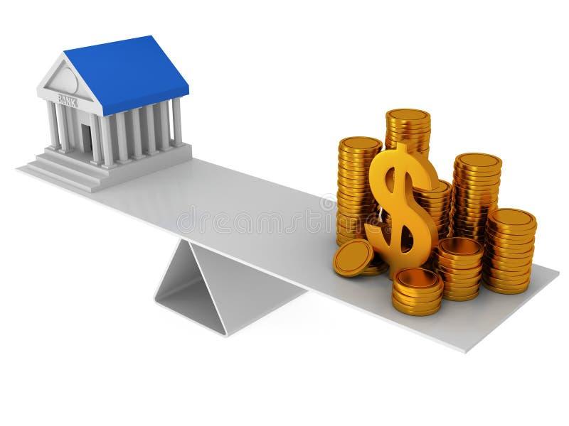 在银行和金钱之间的完善的平衡 皇族释放例证