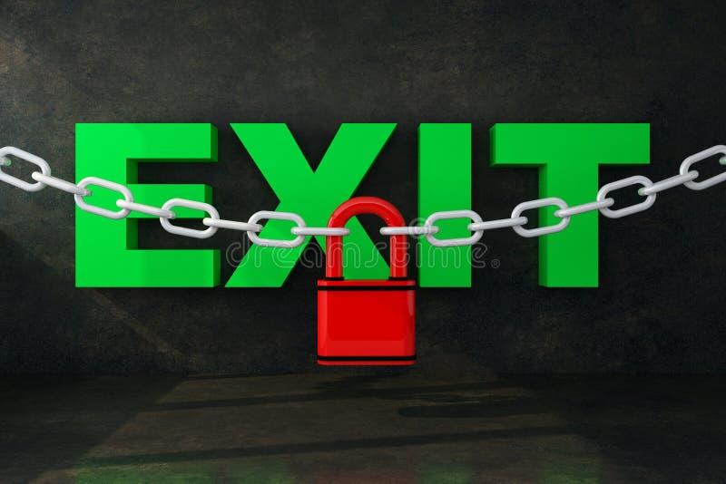 在链子下的词出口与锁 库存例证