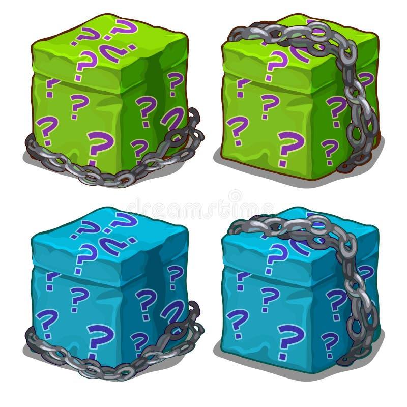 在链子充满惊奇的箱子包裹的 向量 皇族释放例证