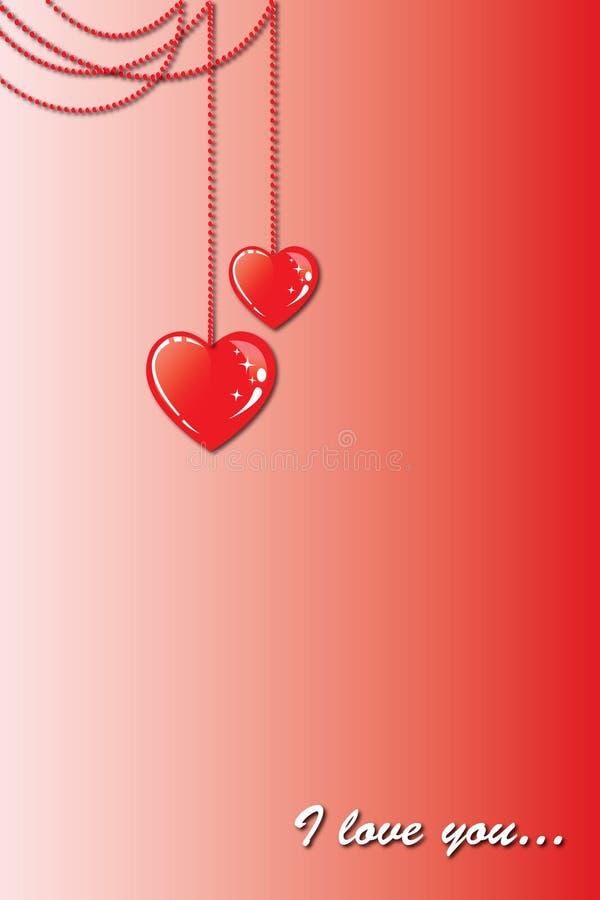 在链子的两心脏 向量例证