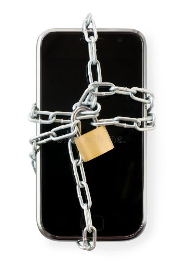 在链子的巧妙的电话与锁 隔绝在与剪报的白色 库存图片