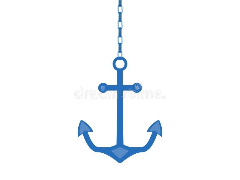 在链子的船锚,隔绝在白色背景 向量 向量例证