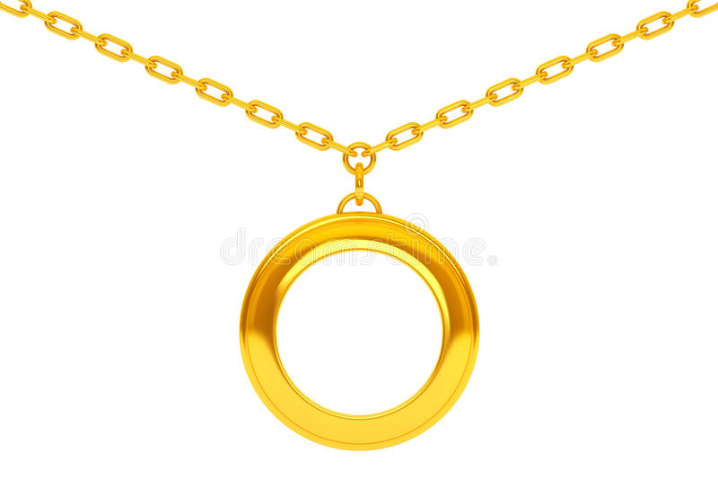 在链子的金黄大奖章与您的照片的空白 3d关于 向量例证