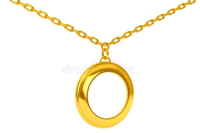 在链子的金黄大奖章与您的照片的空白 3d关于 皇族释放例证