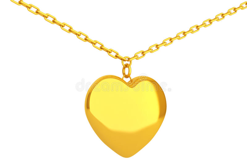 在链子的金黄心脏大奖章 3d翻译 皇族释放例证
