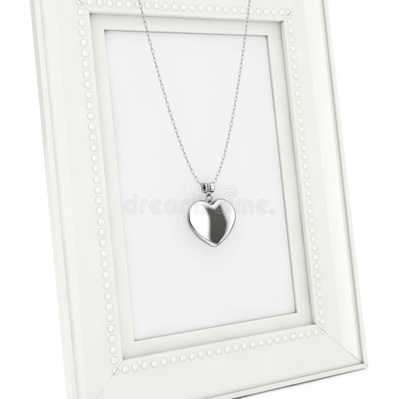 在链子的银色心脏大奖章在空的相框 3D rende 向量例证