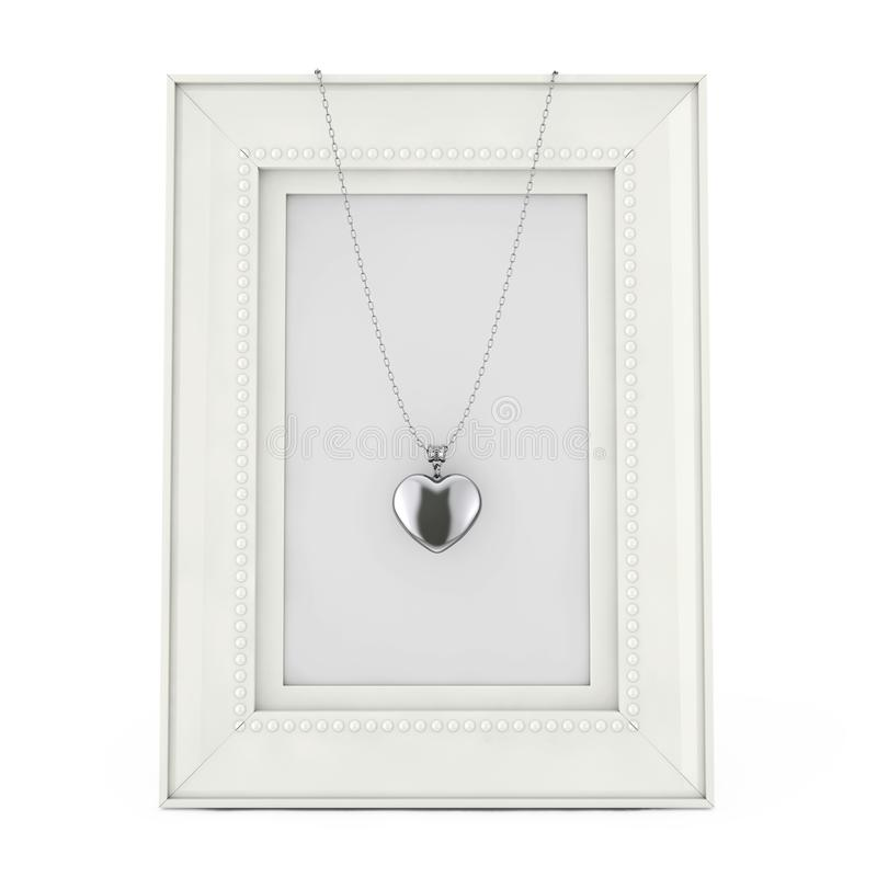 在链子的银色心脏大奖章在空的相框 3D rende 皇族释放例证