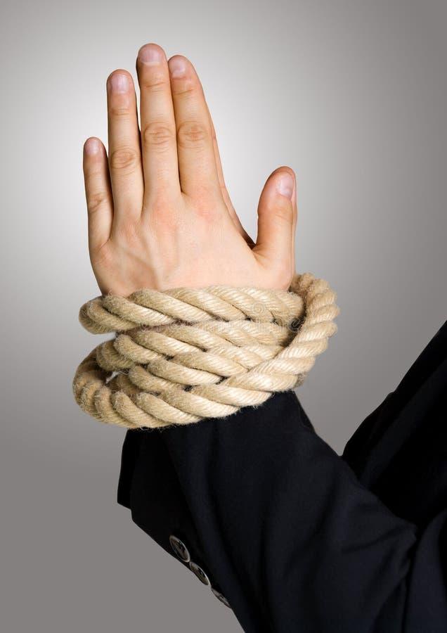 在链子,与绳索的债券的企业现有量 库存照片