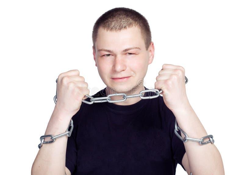 在链手铐的人的手在被隔绝的白色背景 库存照片