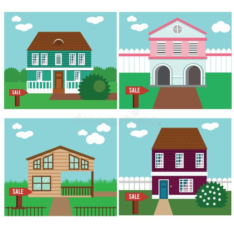 在销售中的房地产 议院,村庄,连栋房屋,甜家庭传染媒介例证 库存例证