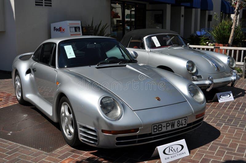 在销售中的豪华保时捷经典汽车 免版税库存照片