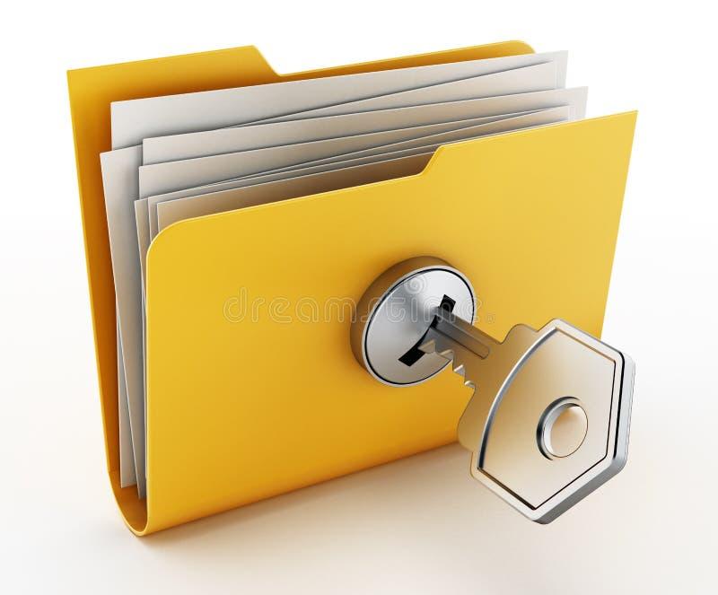 在锁着的黄色文件夹的钥匙 3d例证 皇族释放例证