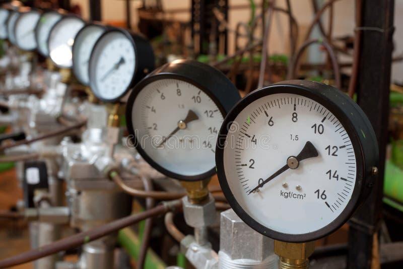 在锅炉的测压器 库存图片
