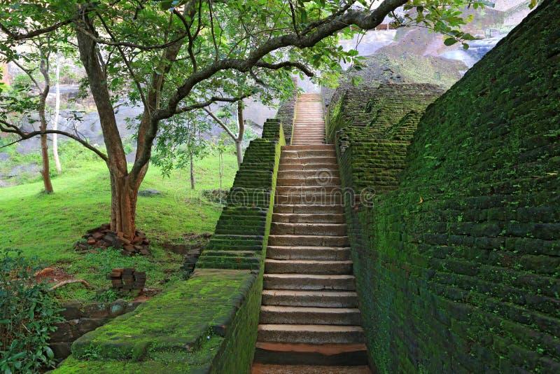 在锡吉里耶城堡的楼梯 免版税库存照片