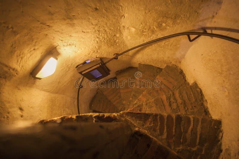 在锡比乌委员会塔的楼梯  免版税库存图片