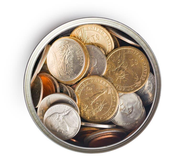 在锡罐的美国硬币 库存图片