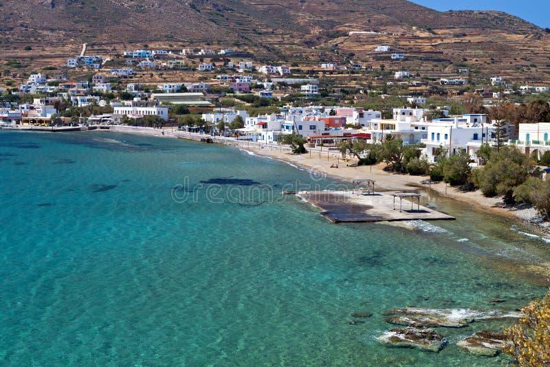 在锡罗斯岛海岛的海滩在希腊 免版税库存照片