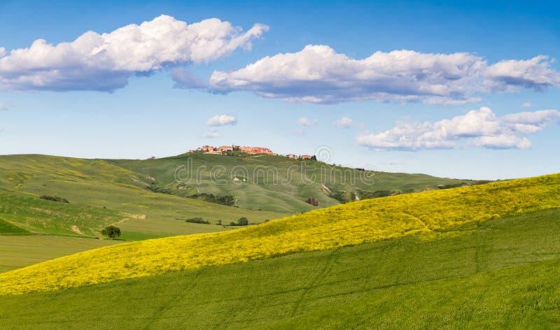 在锡耶纳和阿夏诺,克利特Senesi,意大利之间的托斯卡纳风景 免版税库存照片