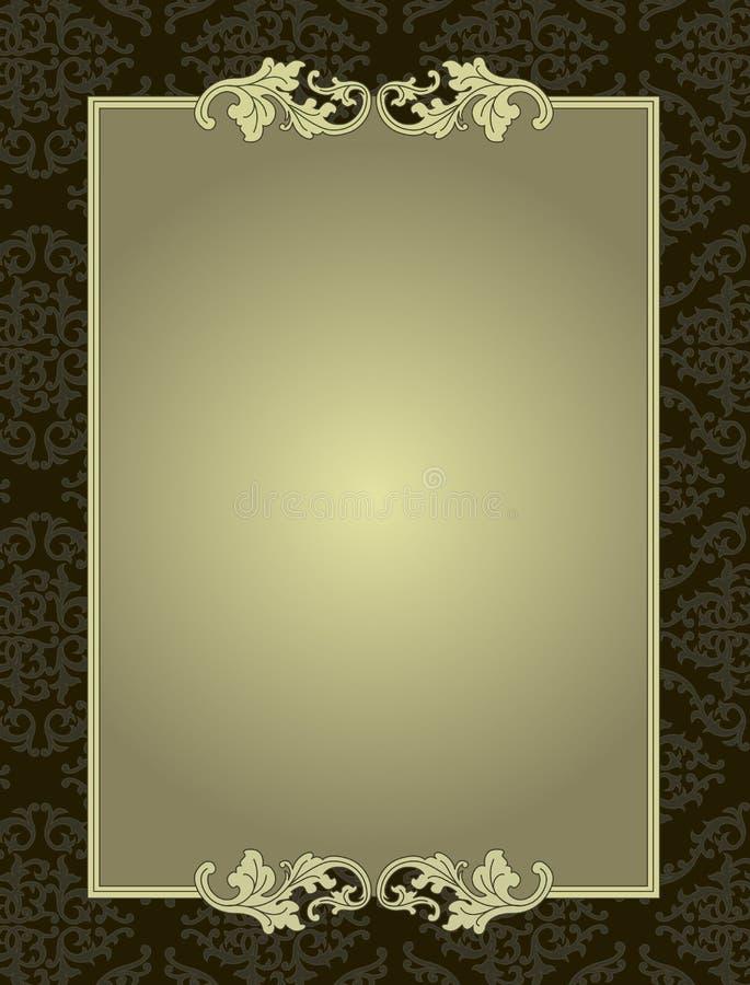 在锦缎样式背景卡片的装饰框架 库存例证