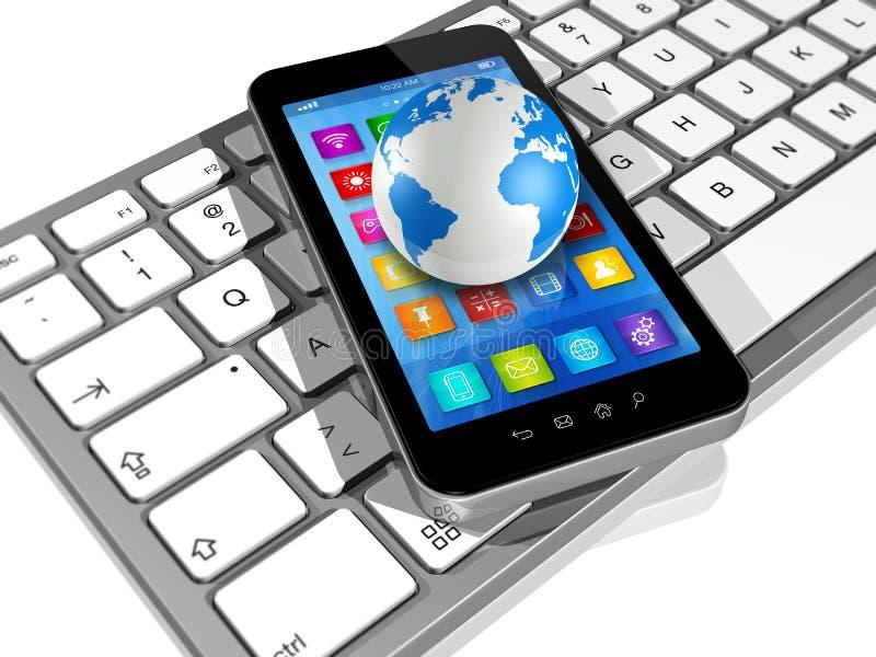 在键盘和世界地球的智能手机 向量例证