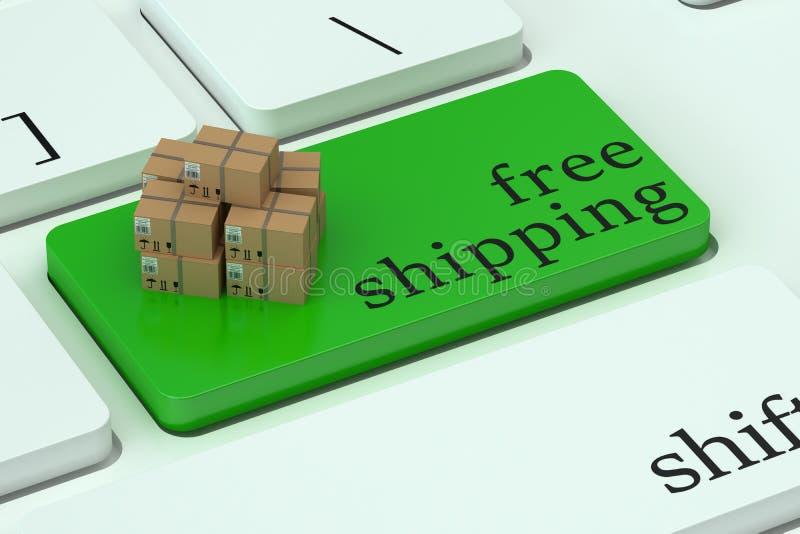 在键盘按钮的自由运输概念 皇族释放例证