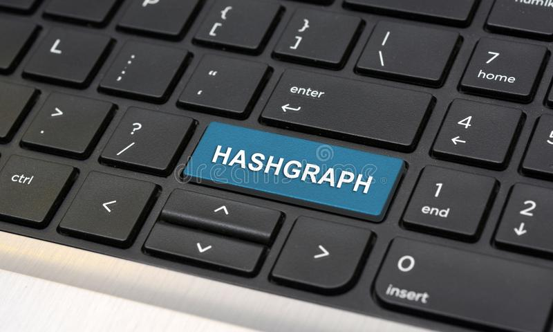 在键盘特写镜头的Hashgraph新的cryptocurrency期限 库存图片