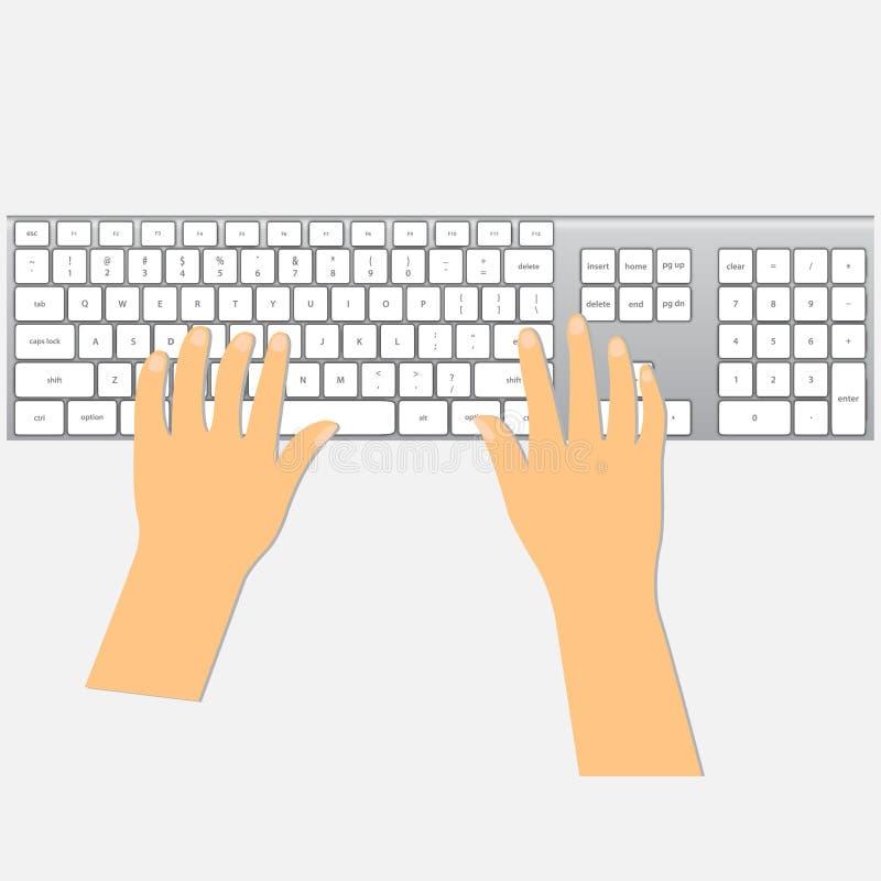 在键盘的人的手 库存例证