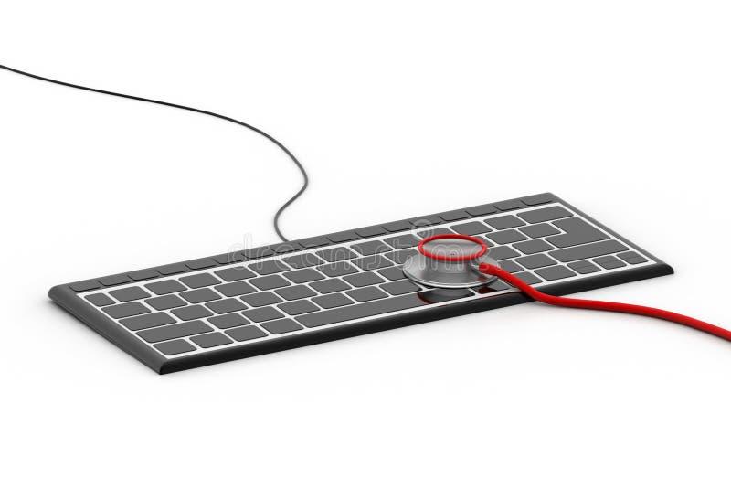 在键盘的听诊器 库存例证
