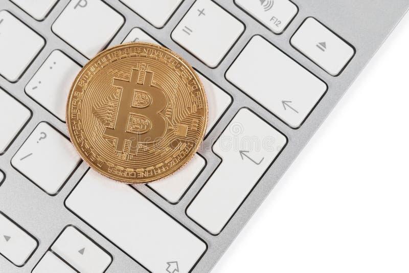 在键盘的Bitcoin 免版税图库摄影