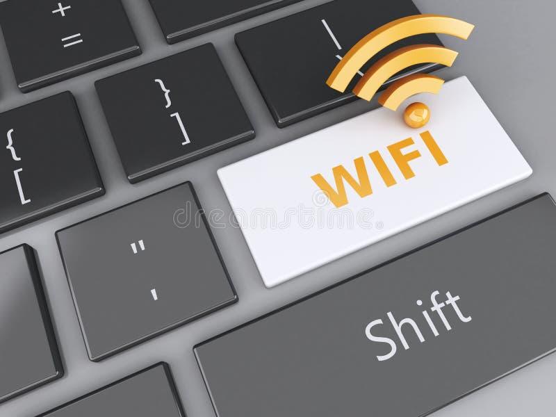 在键盘的Wifi按钮 3d例证 库存例证