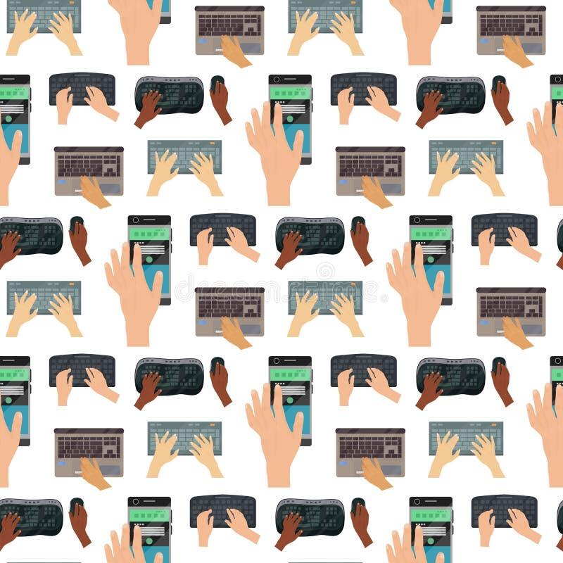 在键盘计算机无缝的样式背景的用户手接触姿态技术互联网重击键入的工具 皇族释放例证