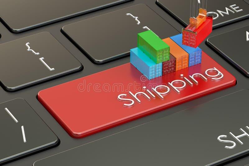 在键盘, 3D的运输和后勤学概念翻译 库存例证