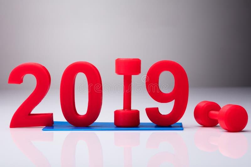 在锻炼席子的年2019在红色哑铃附近 免版税图库摄影