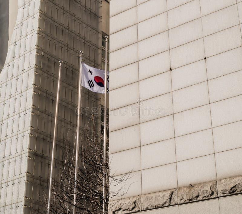 在镀铬物旗杆的韩国旗子 库存照片