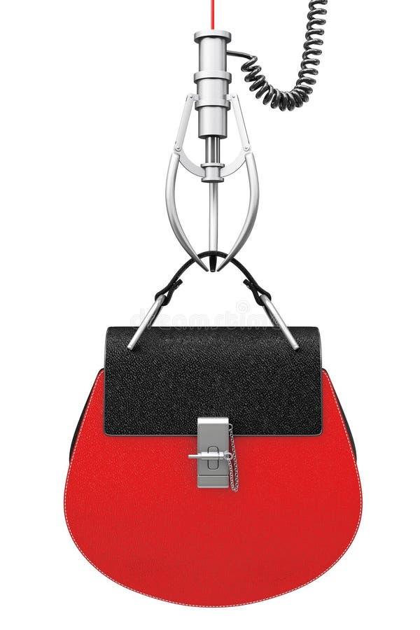 在镀铬物机器人爪的豪华红色皮革妇女袋子 3D renderin 库存例证
