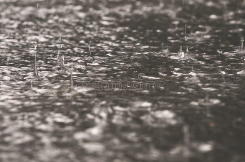 在镇下雨下跌的下落在都市沥青的一个大水坑 雨珠特写镜头,恶劣天气在夏天城市 免版税库存照片