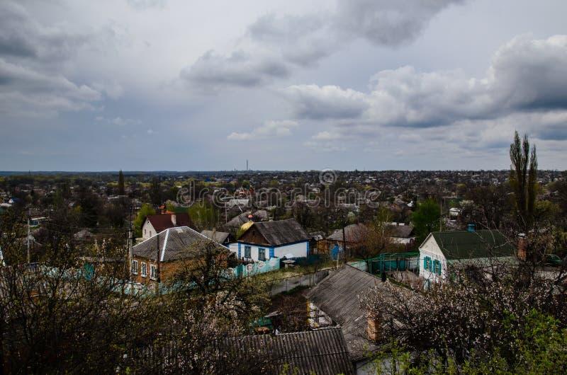 在镇亚历山大的看法在乌克兰 图库摄影