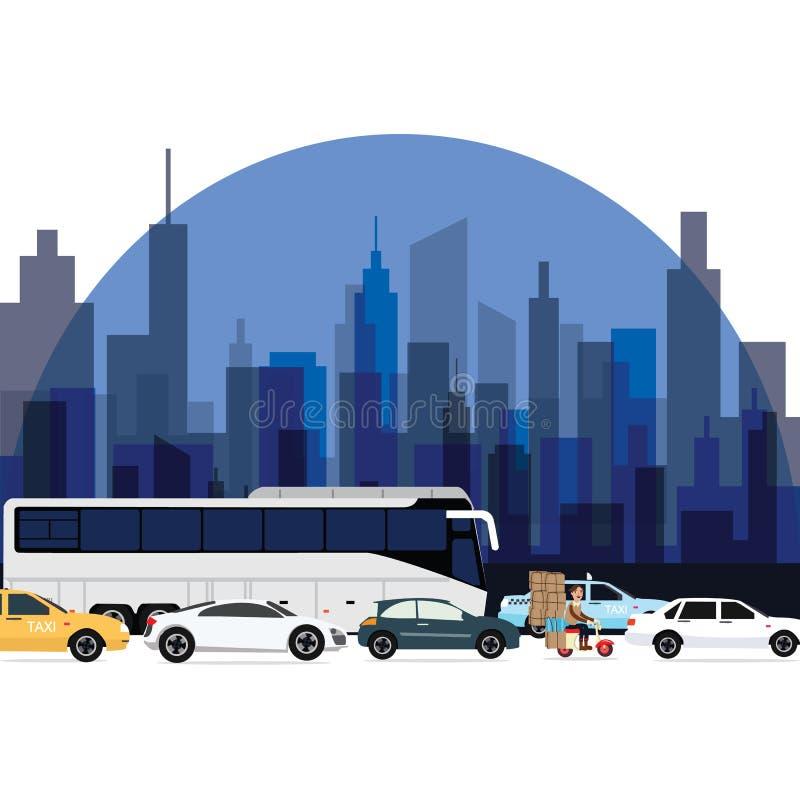 在镇汽车公共汽车附近的交通堵塞和与高层建筑物的摩托车衬里作为背景 向量例证