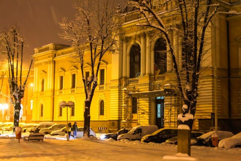 在镇街道上的强的雪秋天在晚上 免版税图库摄影