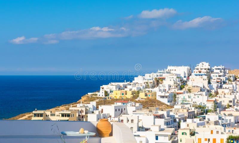 在镇Chora的看法在纳克索斯岛,基克拉泽斯,希腊上 免版税图库摄影