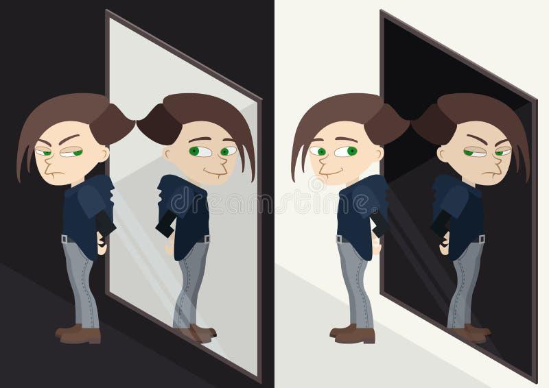 在镜子反映的好或坏字符 密友或情感 向量例证